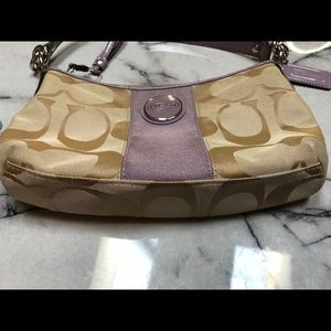 Coach Bags - Coach Signature Stripe Khaki & Lilac Crossbody Bag